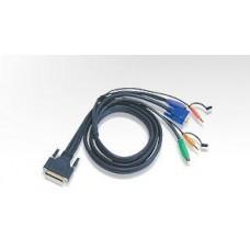 PS/2 KVM (Keyboard/Video Monitor/Mouse) Switch İçin Kablo, 1.80 metre, 1 x DB-25 erkek <-> 1 x Monitör 15 pin HDB erkek, 1 x Klavye 6 pin Mini-Din erkek, 1 x Mouse 6 pin Mini-Din erkek, 2 x Audio yuvası VİDEO ÇOKLAYICI